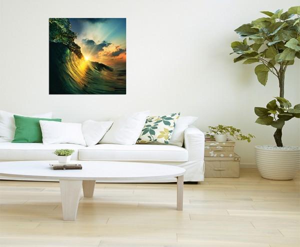 80x80cm Ozean Welle Sonnenuntergang Abendrot