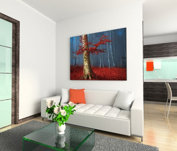 120x80cm Wandbild Wald Bäume Herbst Blätter Laub Nebel