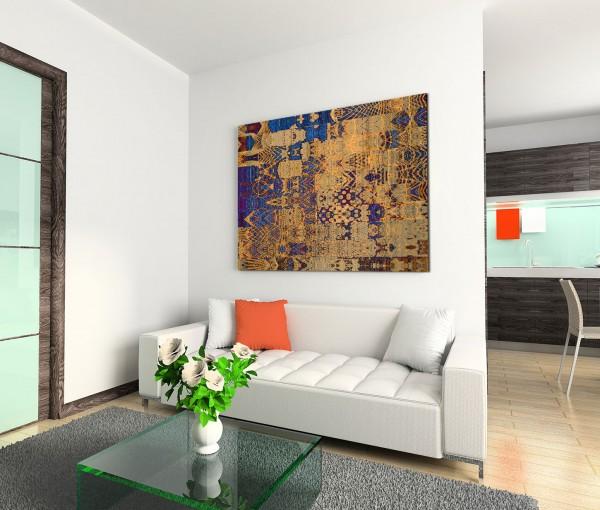 120x80cm Wandbild Hintergrund Formen abstrakt blau braun