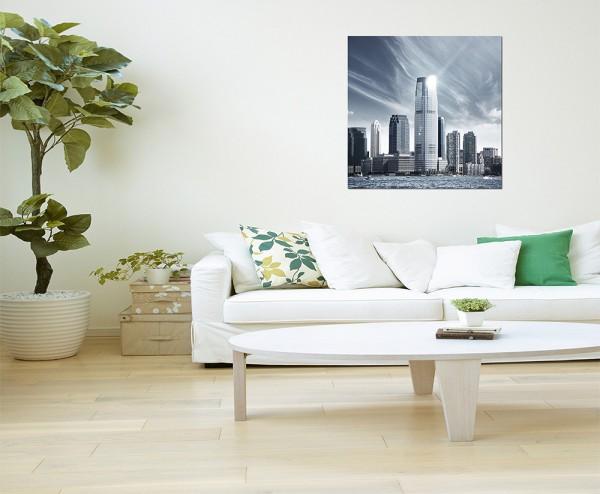 80x80cm New York Skyline Wasser Wolken