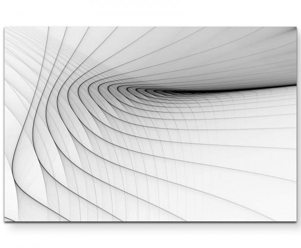 Abstraktes Bild - Schwarze, zarte Streifen, weißer Hintergrund - Leinwandbild