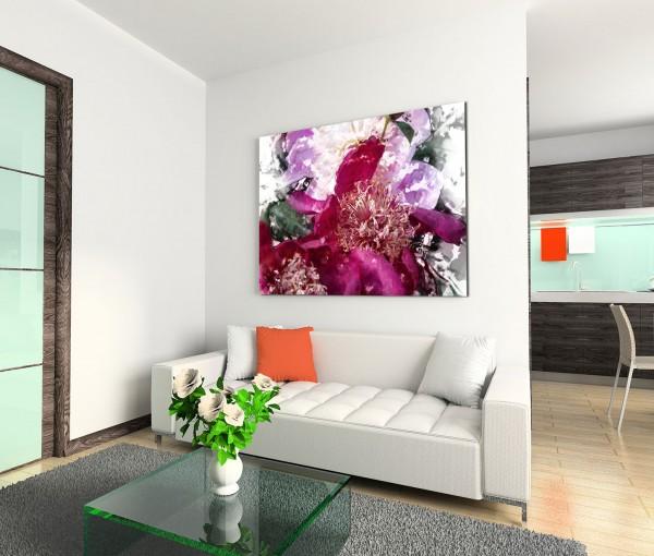 120x80cm Wandbild Wasserfarben Malerei Blumen Blüten