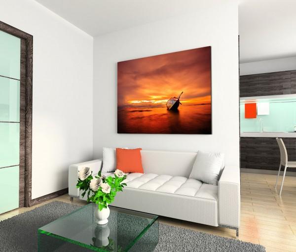 120x80cm Wandbild Meer Strand Sonnenuntergang Holzboot Wrack