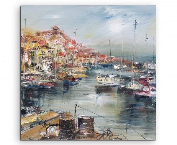 Gemälde einer Hafenstadt auf Leinwand