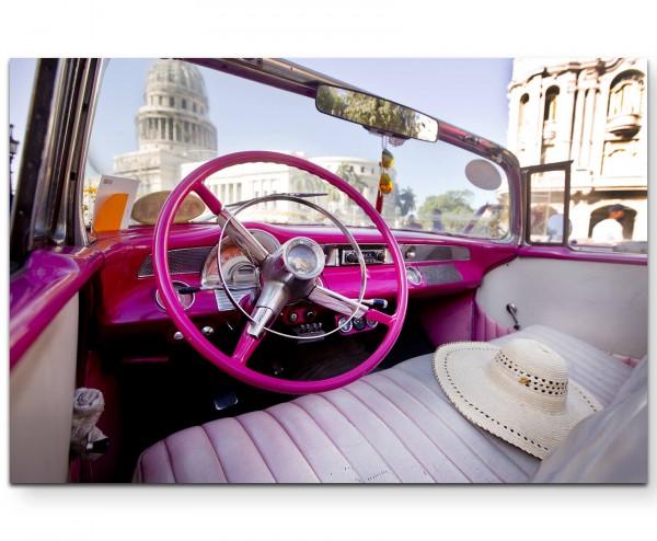 Oldtimer in Havana, pinkes Lenkrad - Leinwandbild