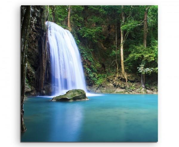 Landschaftsfotografie – Wasserfall in Erawan, Thailand auf Leinwand