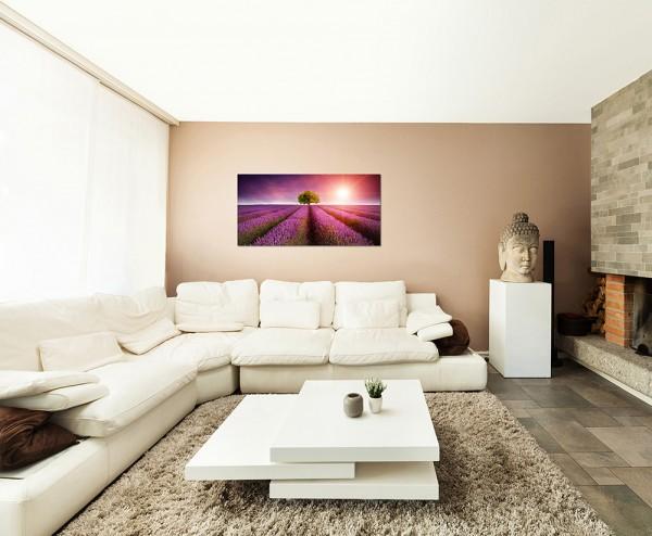 120x60cm Lavendelfeld Sonnenuntergang Landschaft