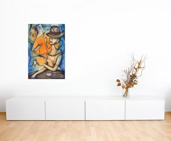 120x80cm Frau Café Malerei abstrakt