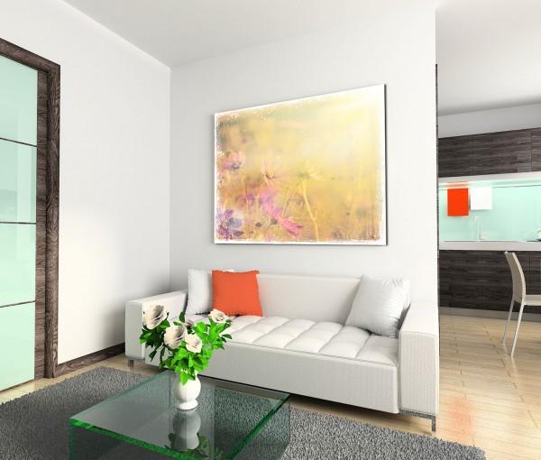 120x80cm Wandbild Blüten Blumen Wiese vintage