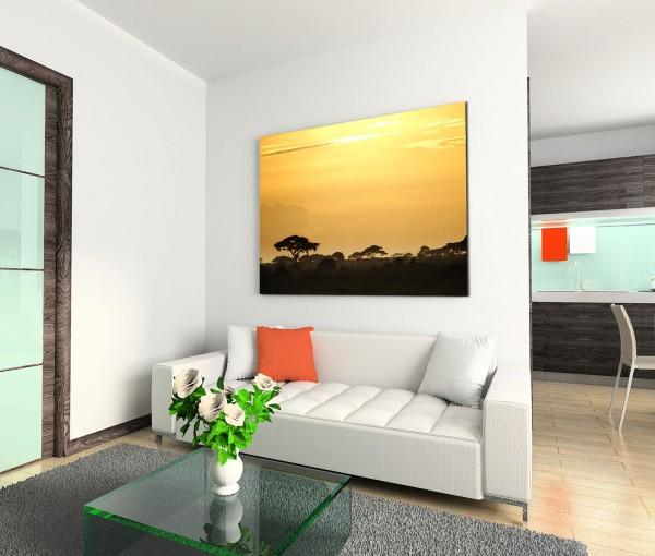 120x80cm Wandbild Kenia Afrika Bäume Sonnenuntergang