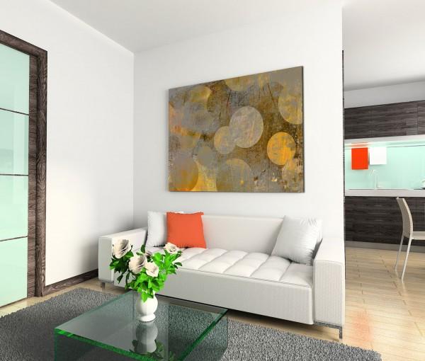 120x80cm Wandbild Hintergrund abstrakt grunge Kreise grau gelb