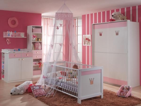 Babyzimmer Cindy in Weiß und Rosé von Wimex 8 teiliges Megaset mit Schwebetürenschrank, Bett mit Lat