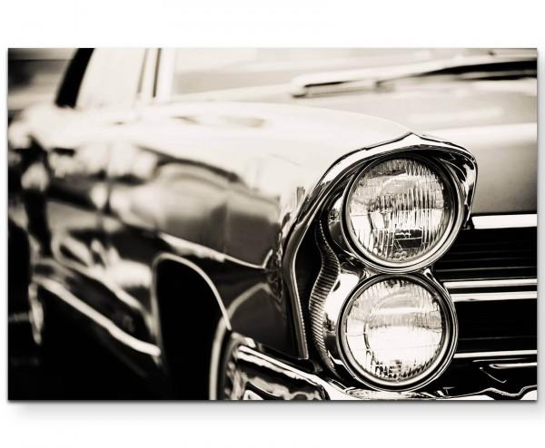 Nahaufnahme Scheinwerfer – altes Auto - Leinwandbild