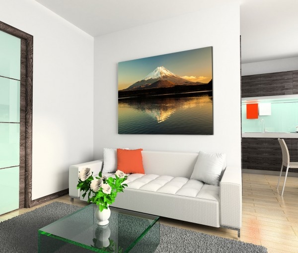 120x80cm Wandbild Fuji Berg Shoji See Spiegelung