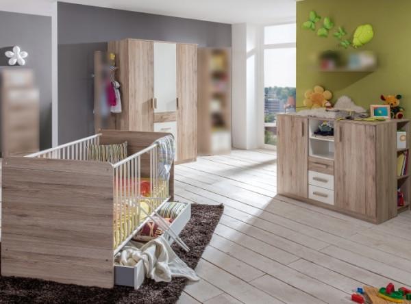 Babyzimmer Cariba in Eiche San Remo und Weiß von Wimex 7 teiliges Superset mit Schrank, Bett mit Lat