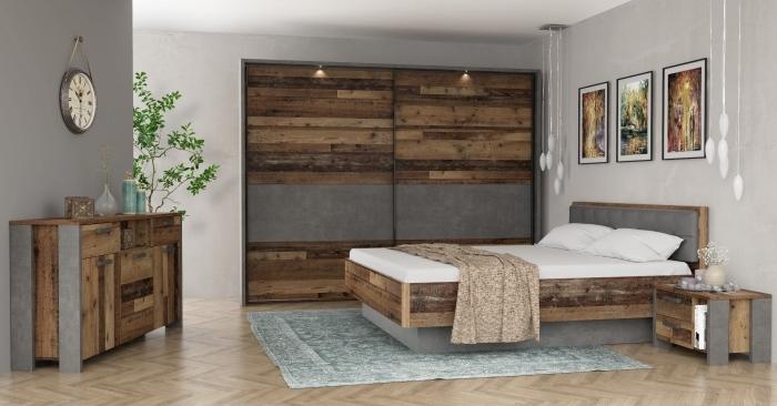 Schlafzimmer Clif von Forte in Old Wood Vintage kombiniert mit Betonoptik zum Toppreis!
