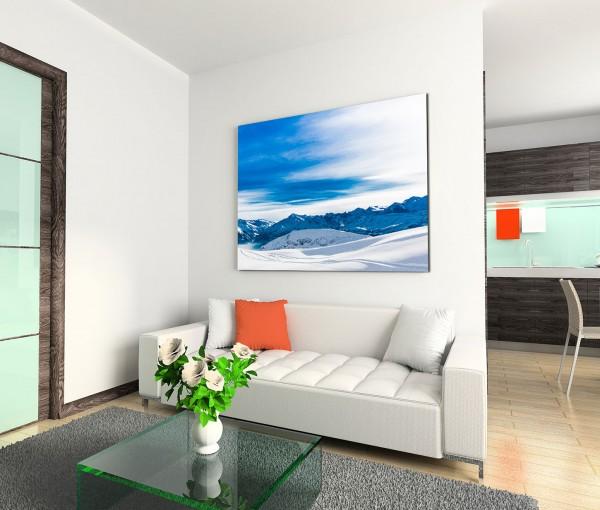 120x80cm Wandbild Berge Berggipfel Schnee Wolkenschleier