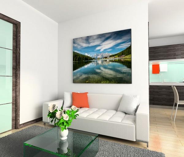 120x80cm Wandbild Italien Dolomiten Alpen Bergsee Wald Reflexion