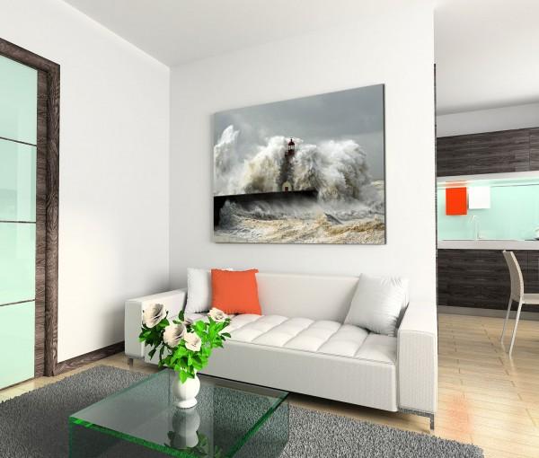 120x80cm Wandbild Meer Welle Sturm Leuchtturm