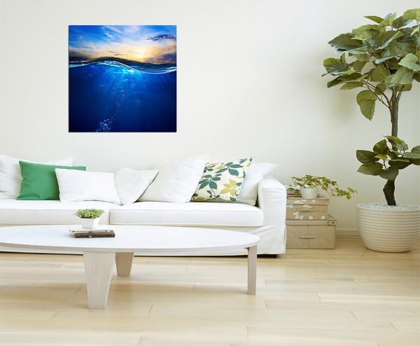 80x80cm Wasser Meer Wellen Himmel Sonne blau