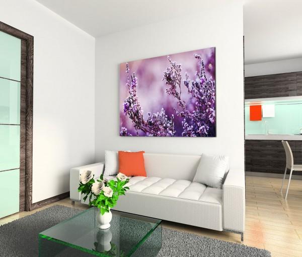 120x80cm Wandbild Heideblume Frost Nahaufnahme