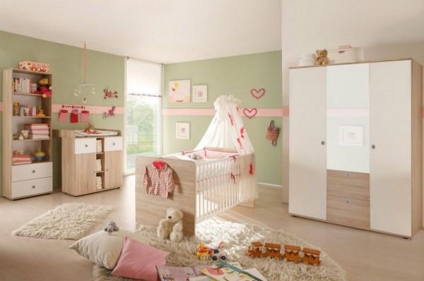 Babyzimmer Wiki 4 Teile in Sonoma Eiche und Weiß von Begabino mit Schrank, Babybett, Wickelkommode u