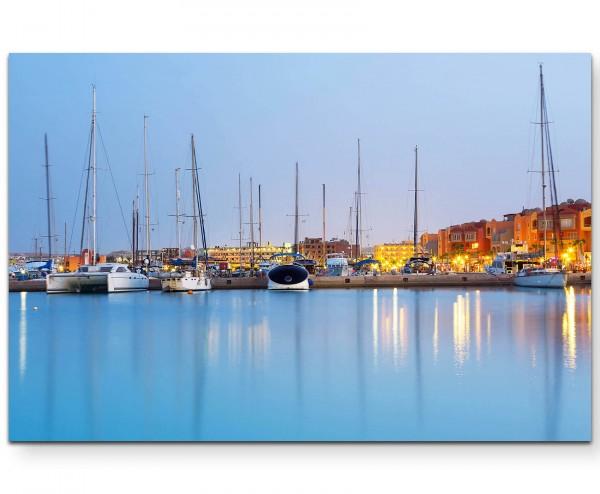 Fotografie – Hafen in Hurghada bei Sonnenuntergang - Leinwandbild