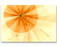 Abstraktes Bild – Fokus orange + zitronengelbe Streifen - Leinwandbild