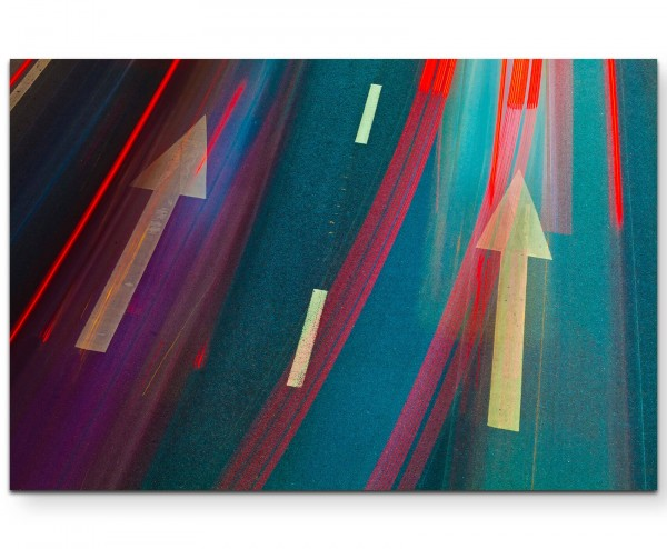 abstraktes Bild – Straßenbemalung, Reflektionen in Rot - Leinwandbild