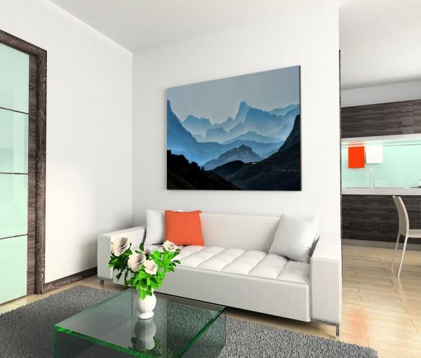 120x80cm Wandbild Berge Nebel Morgengrauen