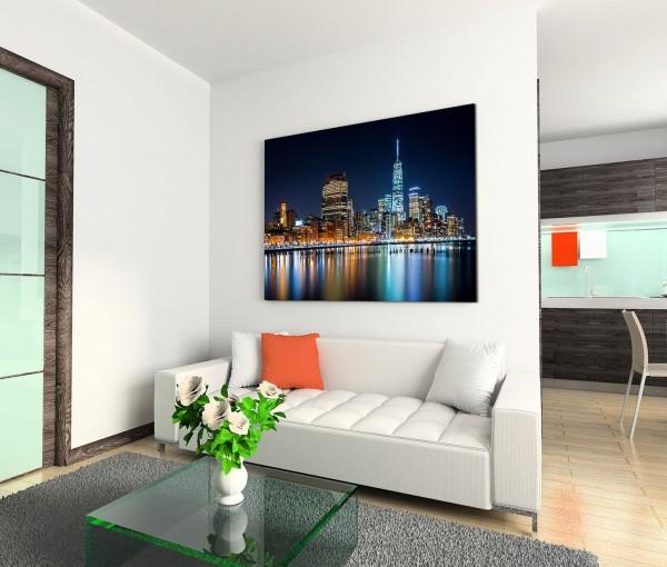 120x80cm Wandbild Manhattan Skyline Hudson River Nacht Lichter Spiegelung