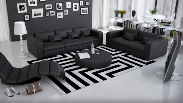 Couchgarnitur Ahoria Schwarz mit Tisch Innocent Abholware