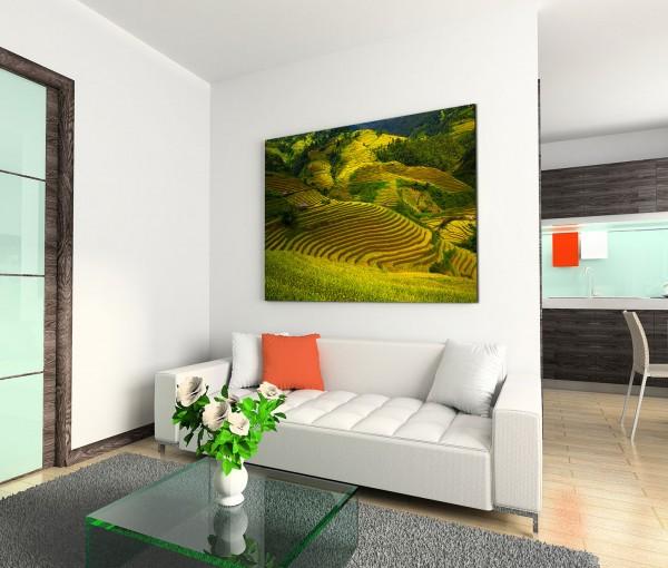 120x80cm Wandbild Vietnam Reisterrassen Hügel