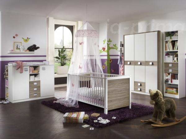 Babyzimmer Jalta in Weiß und Eiche Sägerau von Wimex 6 teiliges Superset mit Schrank, Bett mit Latte