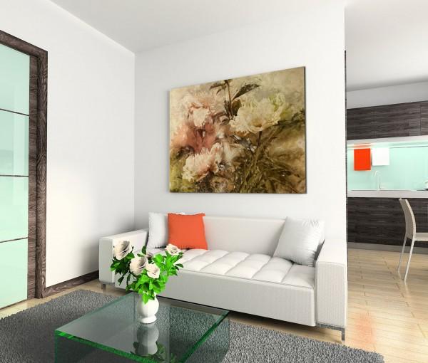 120x80cm Wandbild Gemälde Wasserfarben Blumen grunge vintage
