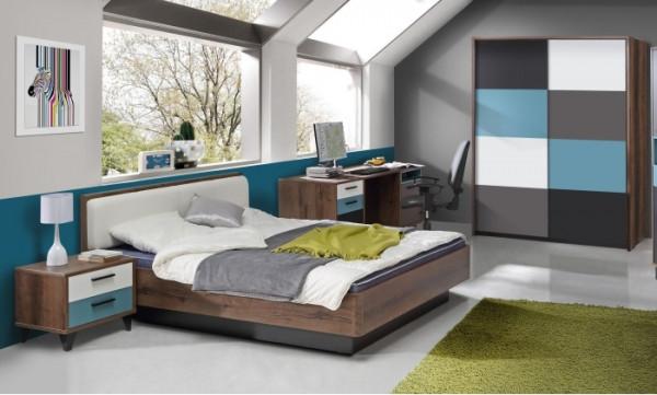 Jugendzimmer Raven 4tlg. 120er Bett mit Schwebetürenschrank