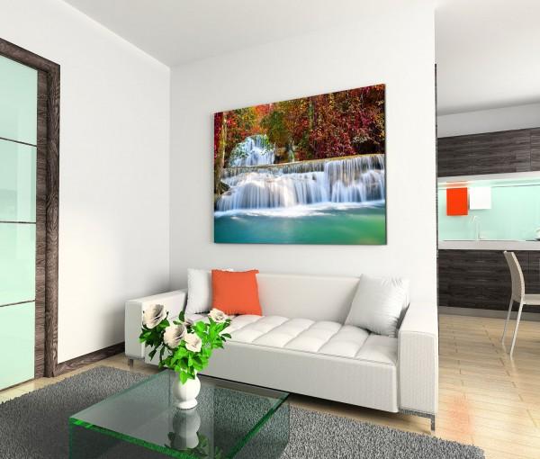 120x80cm Wandbild Thailand Wald Hui Mae Khamin Wasserfall Natur