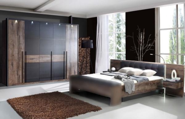 Schlafzimmer Bellevue in Schlammeiche von Forte Sparset mit Drehtürenschrank, Bettanlage, Beleuchtun