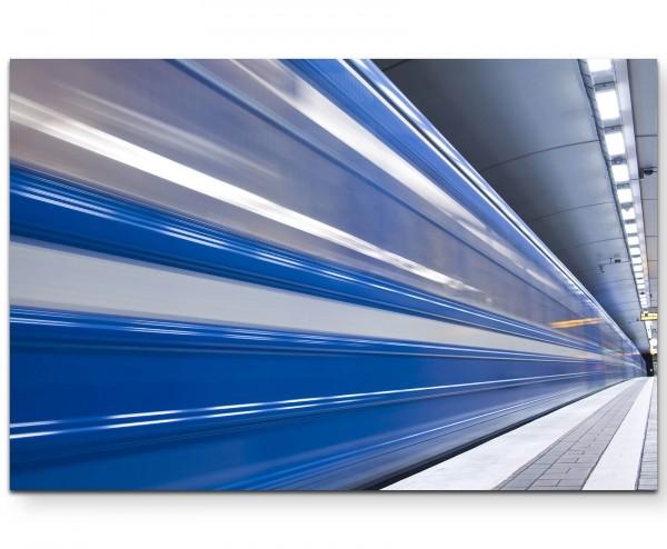 Fotografie – schneller Zug im Untergrund - Leinwandbild