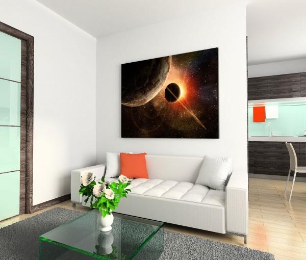 120x80cm Wandbild Weltall Planeten Sonnenaufgang