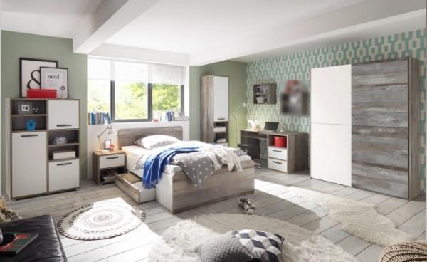 Jugendzimmer Moon in Driftwood- Weiß 9 teiliges Megaset mit Schwebetürenschrank, 140er Bett mit zwei