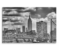 120x80cm Wandbild New York Manhattan Wolkenkratzer schwarz weiß