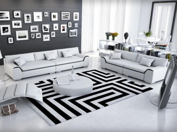 Couchgarnitur Azure in Weiß von Innocent inklusive Kissen und Tisch aus hochwertigem Kunstleder