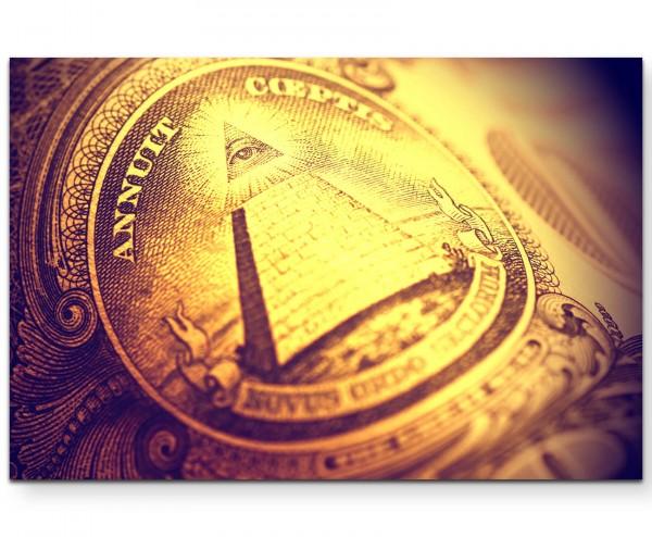 Pyramide auf dem US-Dollar - Leinwandbild