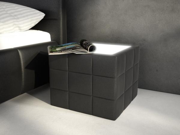 Nachttisch Würfel Schwarz mit LED