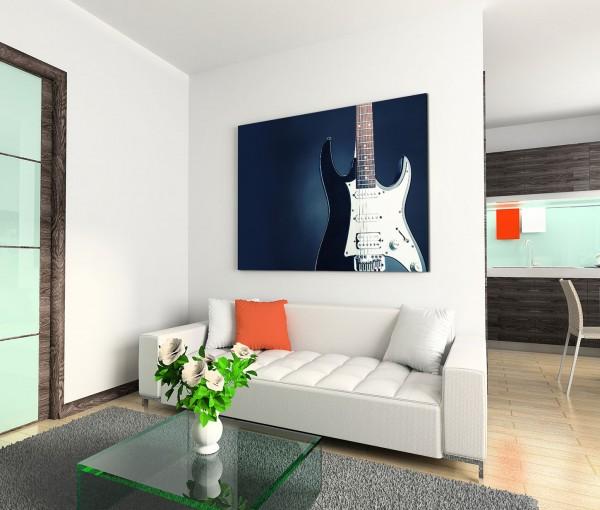 120x80cm Wandbild Elektrogitarre schwarz weiß Nahaufnahme