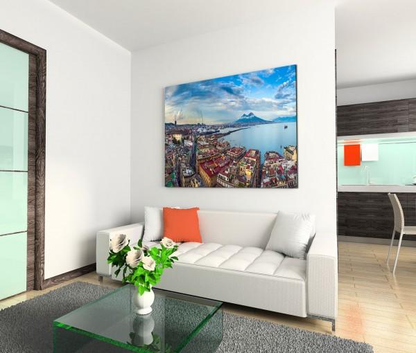120x80cm Wandbild Italien Neapel Meer Berge Wolkenschleier