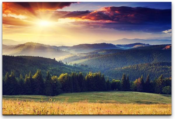 Landschaft mit Bergen und Wolken Wandbild in verschiedenen Größen