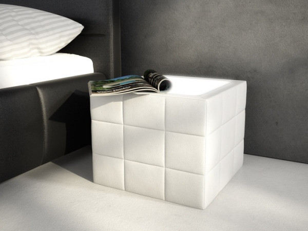 Nachttisch Würfel Weiß mit LED
