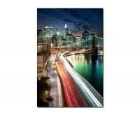 120x60cm New York Straße Lichter Gebäude Nacht